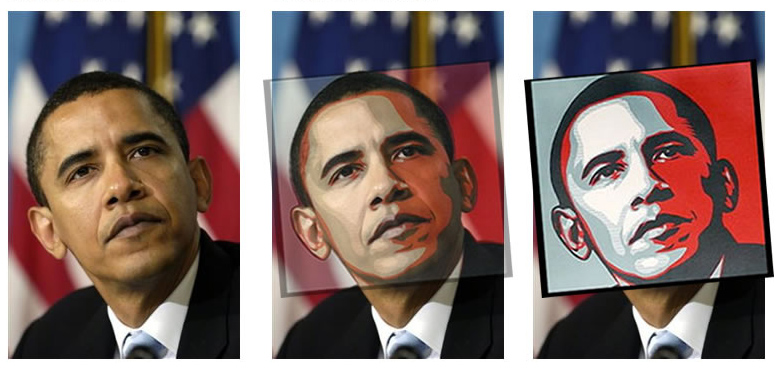 Analysis by stevesimula on Flickr of the image by AP photographer Mannie Garcia compared with Shepard Fairey's Obama HOPE poster.