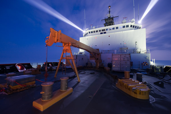 The Healy at night. Photo by Chris Linder, courtesy WHOI