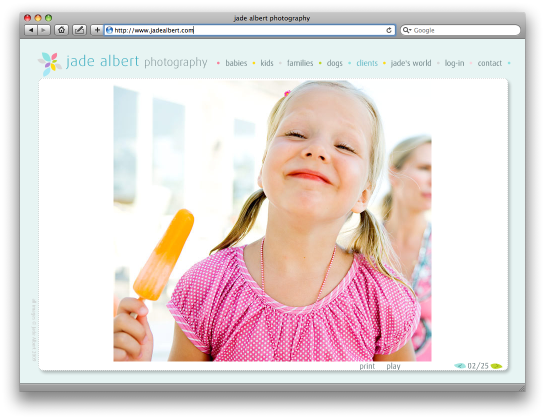 "Jade Albert's website, which is branded to complement her ""light, airy"" photographic style."