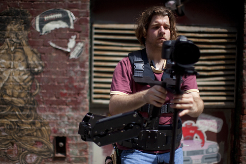 Steady Cam operator, Guy Rhodes prior to filming a fight scene in Brooklyn.