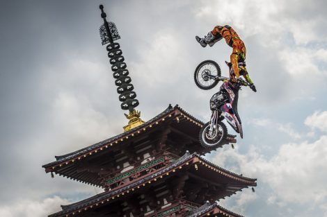 Wes Agee of the United States of America performs in front of the Shitenno Temple in Osaka, Japan on March 22nd, 2014