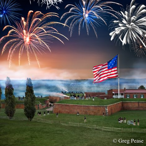 Reenactment of Bombardment of Fort McHenry Photo Notes: This photo was produced using seven reenactors and one cannon moved to multiple locations while shooting from a scissor lift fully extended 50 ft. high. The image was created in Photoshop by assembling the multiple components including the flag, cannon fire and fireworks into a single image.