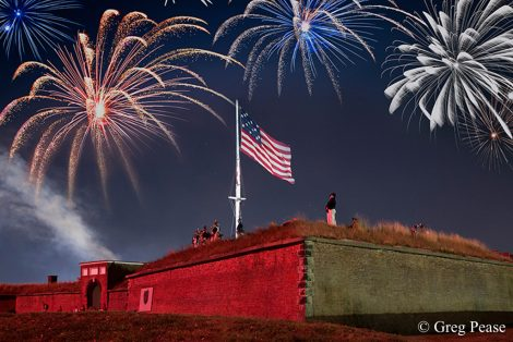 \Battle of Baltimore Reenactment of the Bombardment of Fort McHenry with Rockets Red Glare Photo Notes: Two cameras were used to shoot this photograph, one for the fireworks and the other for the Fort to create a single image.
